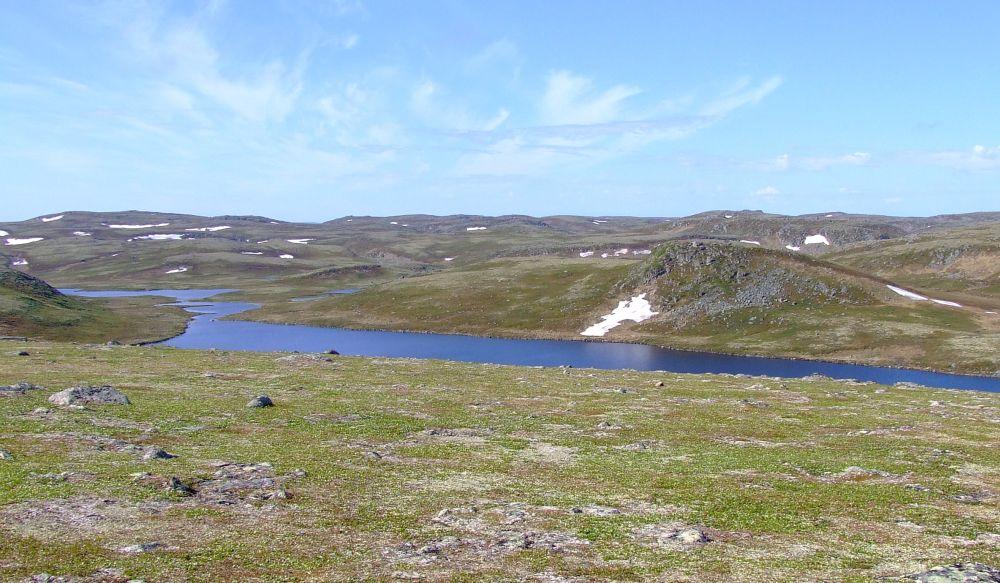 Ловозерская тундра, сопки в снегах, разгар календарного лета