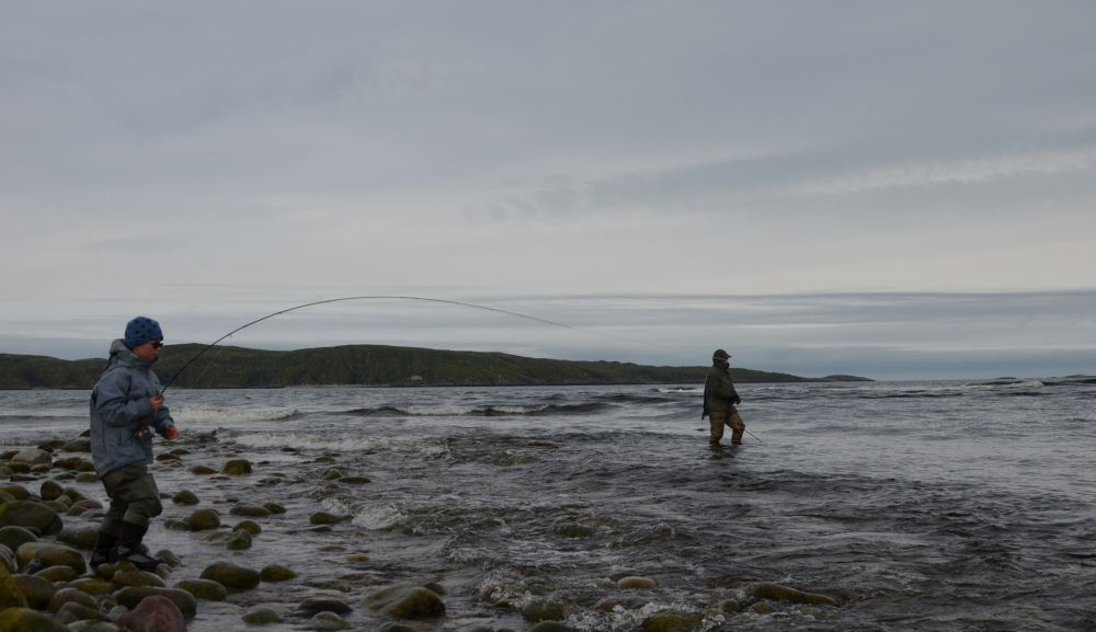 Приятно смотреть на юного нахлыстовика, самостоятельно вываживающего рыбу