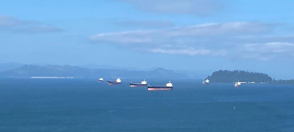 За туманом краёв не видно, только на горизонте возникают громады океанических судов и бойко шуруют в сторону Портленда